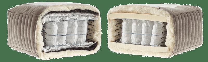 Innenleben der natürlichen und handgemachten Matratze